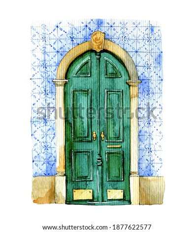 watercolor illustration. Classic green door in the wall with blue tiles. Bright illustration for greeting cards.