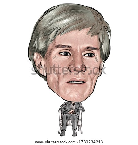 May 24, 2020 Caricature of Andy Warhol, Andrew Warhola was an American artist, film director, producer, Painter, Artist Portrait Drawing  Illustration.