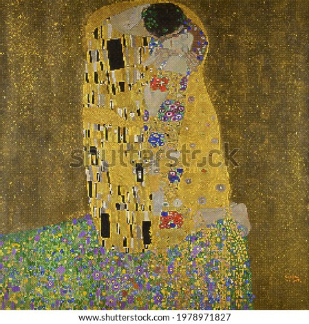The Kiss - Gustav Klimt. Redrawing with pixel art style.