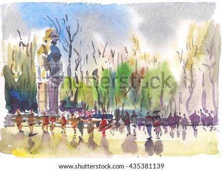 watercolor sketch of the park