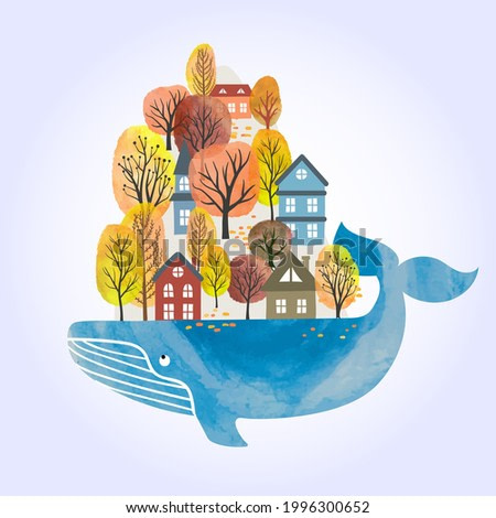 Fairy Whale with houses and trees on its back. Vector watercolor illustration.
