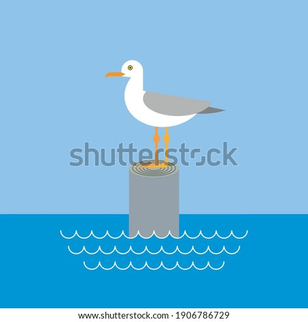 Seagull standing on wooden peg with sea and sky landscape illustration.