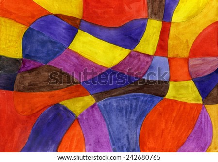 Abstract watercolor lines and shapes painting. Vibrant colors.