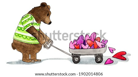 Brown bear pulling trolley filled with hearts, hand painted watercolor on paper