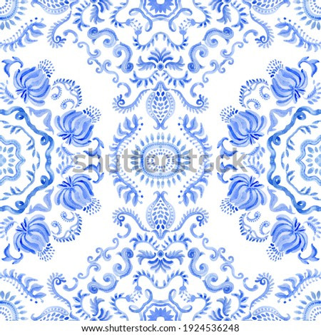 Watercolor painted Spanish tile with hand drawn Baroque and floral indigo blue ornaments in Mediterranean majolica ceramic painting style. Wallpaper décor, batik, carpet print isolated on a white back
