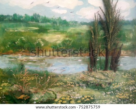 Summer landscape, trees, river and rural. Painting