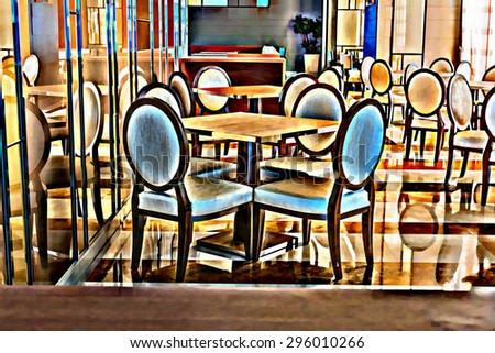 digital painting style colorful modern dining room.