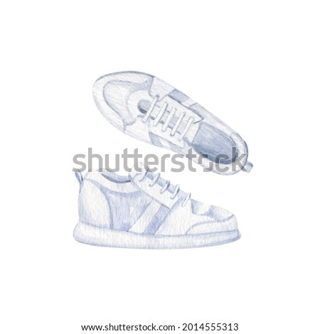 White sneakers isolated on white background. Hand drawn watercolor clipart, front and side view.