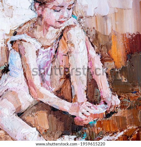 Little ballerina  sits and fastens pointe shoes on a light brown background. Fragment of oil painting, palette knife technique and brush. Little girl in a dance class.