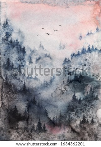 Foggy Forest watercolor illustration, Painting of Misty Mountain Landscape. Greeting card, home decor, woodland in fog dark blue and pink Art print