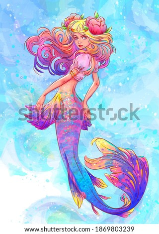 Colourful Smilling Pretty Woman Mermaid with Flower in Hair Watercolor Illustration