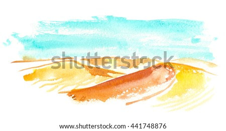 Abstract landscape with bright blue sky and sand dunes painted in watercolor on white isolated background