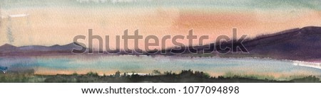 Watercolor painting, landscape, Sunset. The shore of the river, the lake, the pond with forest on the horizon. Against the background of the Pink sky.
