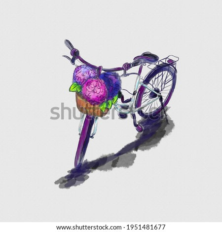 Watercolor vector 3d hand drawn painting of a bicycle with hydrangea flowers French style isolated on a white background