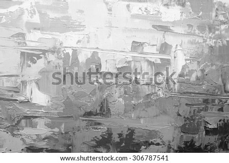 Abstract art  background. Oil painting on canvas. Black and white  texture. Fragment of artwork. Spots of oil paint. Brushstrokes of paint. Modern art. Contemporary art.