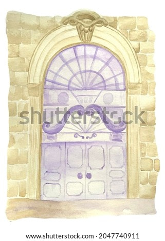 Watercolor illustrations, purple door, architecture on a white background