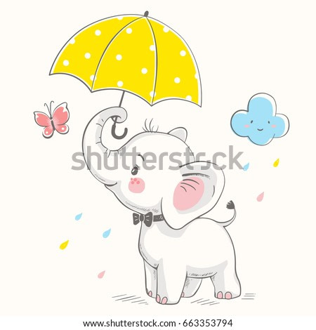 Cute elephant with umbrella cartoon hand drawn vector illustration. Can be used for  t-shirt print, kids wear fashion design, baby shower invitation card.