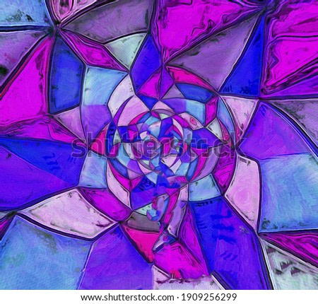 Abstract work of art made with digital techniques such as digitizing tablets and support in design software, originally created in high resolution