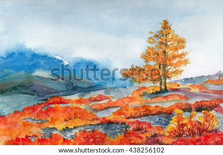 Watercolor hand drawn autumn landscape with mountains and yellow tree. Illustration