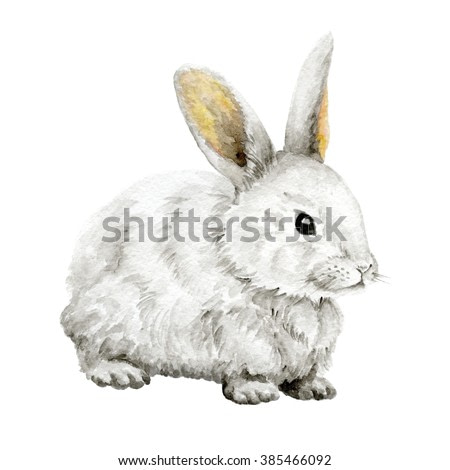 Easter Bunny. Farm animals. Watercolor drawing