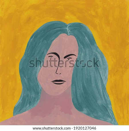 Portrait woman with long blue turquaise hair and yellow background