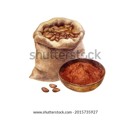 Bowl with cocoa powder and cocoa beans in burlap sack watercolor illustration isolated on white background