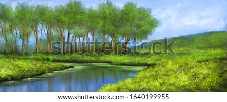Paintings landscape with lake and forest. Fine art.