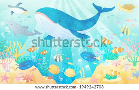 Watercolor style vector illustration background (landscape) where whales, penguins and dolphins are swimming in the summer sea