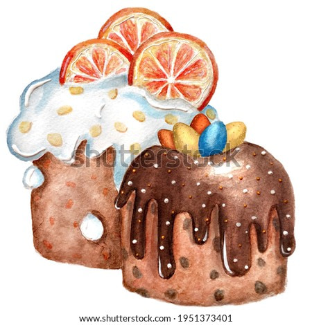 Watercolor sketch painting drawing of  Easter cake kulich