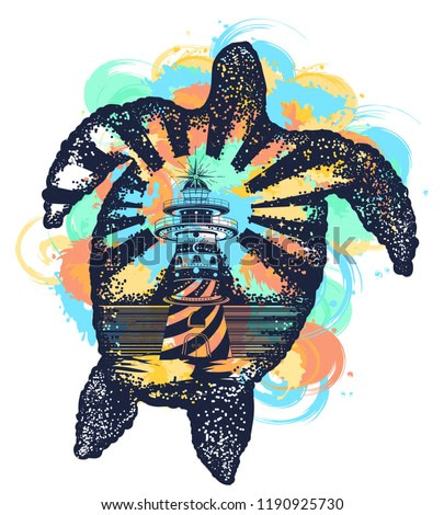 Turtle double exposure animals tattoo art and t-shirt design watercolor splashes style. Symbol of tropical travel, adventure, surf. Lighthouse on edge of cliff