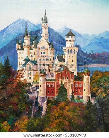 Original oil painting of famous Neuschwanstein castle in Bavaria, Germany.
