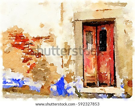 Digital watercolor painting of a red derelict double front door with a brick and plastered wall that is peeling and falling apart in Lisbon, Portugal. With wall space for text.