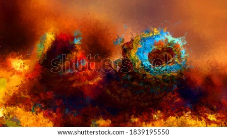 Expressive brushed painting on canvas. Abstract texture. 2d illustration. Wide brushstrokes. Modern digital art. Contemporary brush. Modern expression. Popular style pattern painted image.