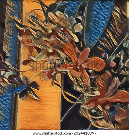 Digital Oil Painting illustration with Flowers, Decoration for the interior. Modern abstract art on canvas.