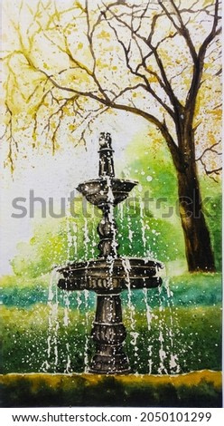 hand drawn watercolor painting of water fountain. beautiful painting of fountain in the garden at sunny day. painting for art print, illustration, background, etc
