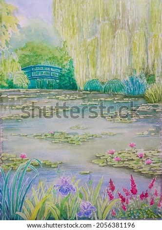 hand drawn watercolor painting of Monet garden in Giverny, France. landscape painting with pond, water lilies, bridge, willow tree and various flower gardens for illustration, print, background, etc