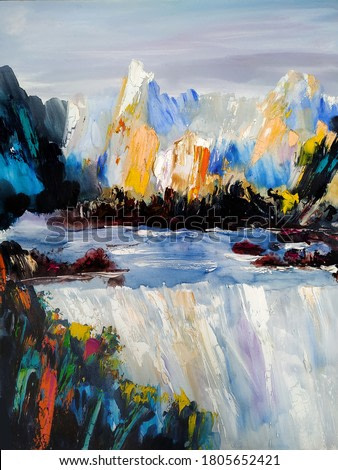 Waterfall, beauty of wildlife, artworks oil on canvas