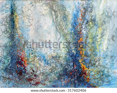 Forest abstract, creative painting. Painting, pictorial art