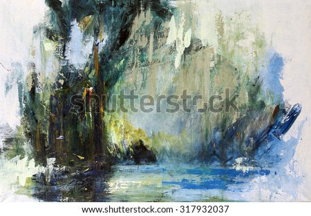 Forest Lake, Abstract deep forest. Painting, pictorial art