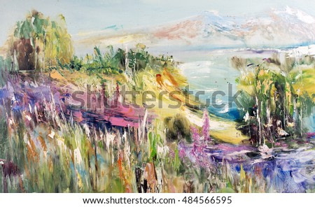 Mountain lake, hills and mountains, upland Landscape. Oil on canvas, modern art, watercolor painting, modern contemporary art