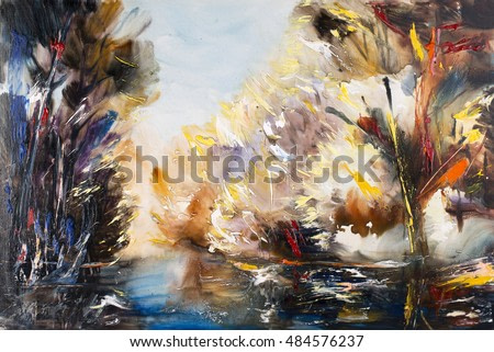 Autumn landscape, northern landscape, mountain river. Oil on canvas, modern art, watercolor painting, modern contemporary art