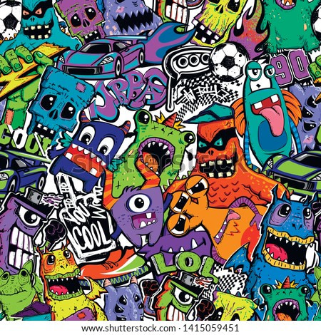 Abstract seamless comics monsters print. Cartoon mutant repeated pattern for textile, fashion clothes, wrapping paper.