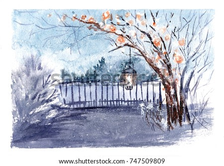 Vintagewatercolor greeting cardwith snow flakes.Cozy countryside winter landscape. Fairytale forest illustration with falling snow and lantern on tree. Christmas and New Year motive. Handpainting.