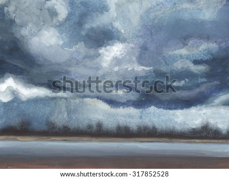 Dark clouds. Rainy evening at the seashore. Fine watercolor painting. Drawing from nature.