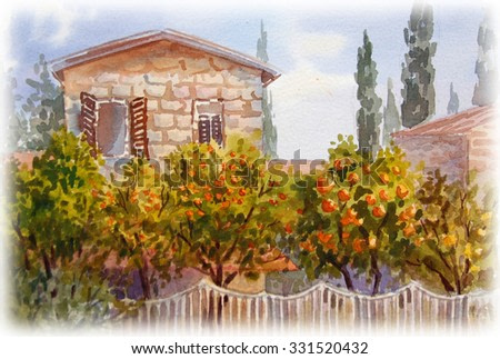 Landscape. House with orange garden. Watercolor painting.