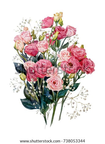 Bouquet of lisianthus, isolated on white background.Festive flower arrangement of flowers.Watercolor painting. Botanical illustration.