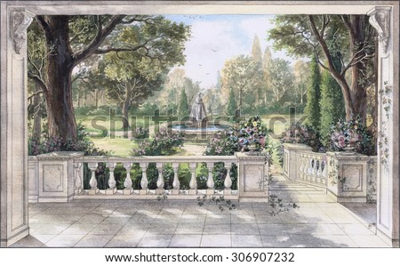 Hand drawn watercolor sketch with landscape and fountain. The view from the terrace on garden with trees, flowers and fountain. View from the balcony on the garden.