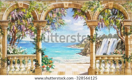 Hand drawn sketch with landscape. Watercolor hand drawn sketch with seascape. Watercolor drawing with seascape. View from the terrace on the sea with flowering trees. View from arch on the sea.