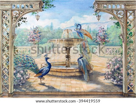 Hand drawn sketch with landscape and peacock. Watercolor painting. Colored drawing with fountain and birds. Park view.