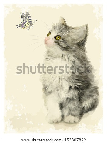 Vintage greeting card with fluffy kitten and butterfly.  Imitation of Chinese painting. Watercolor style.